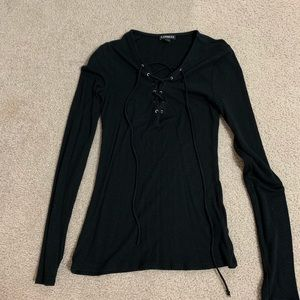Express - Tie Up Long Sleeve Top